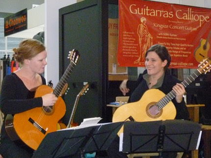CaCoria Guitar Duo at the Guitarras Calliope Stand @ the Frankfurt Music Fair 2012