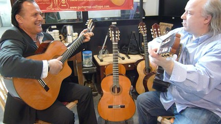 Mike Reinhardt & Kai Heumann at the Guitarras Calliope Stand. Frankfurt Music Fair 2012